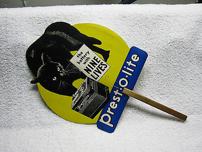 Prestolite Car Auto Battery Black Cat Hand Held Advertising Fan Sign