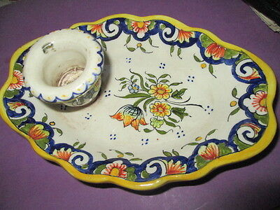 Antique Candle Ceramics holder hand paint/Rouen/France