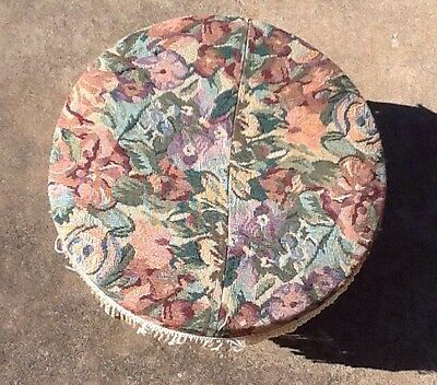 Vintage TAPESTRY FOOT STOOL Solid Wood 4 Legged Round Stool Foot Rest
