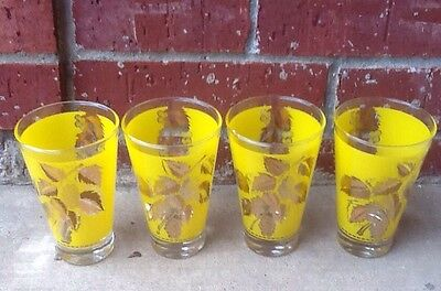 Set Of 4 Mid-Century Gold Trimmed Yellow Tumblers/Drinking Glasses. Vintage