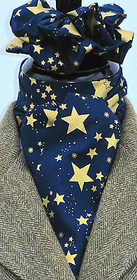 Self Tie Navy Blue & Gold Stars Cotton Riding Stock & Scrunchie - Hunting show