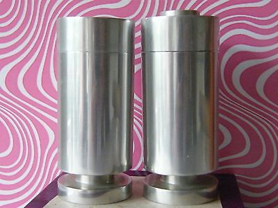 1960s/1970s stylish stainless steel salt and pepper pots