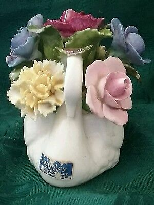 Vintage Aynsley Hand Modeled , Hand painted, fine bone china swan with flowers