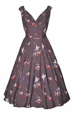 Summer Grey Bird Print Flared 40's 50's Vintage Party Tea Dress New Size 10