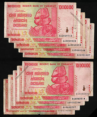 100 Million Zimbabwe Dollars x 10 Banknotes AA 2008 10PCS Fine/VF *Pre Trillion