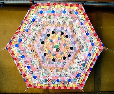 Vintage 1930's Hexagon Quilt Top trip around the world
