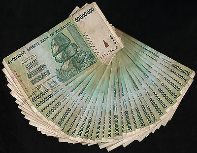 50 Million Zimbabwe Dollars x 30 Banknotes AA 2008 Currency Lot *Before Trillion