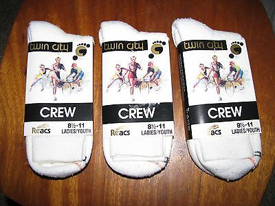 Vintage 3 Pairs of Ladies/Youth TWIN CITY CREW SOCKS New Old Stock Size 8 1/2-11