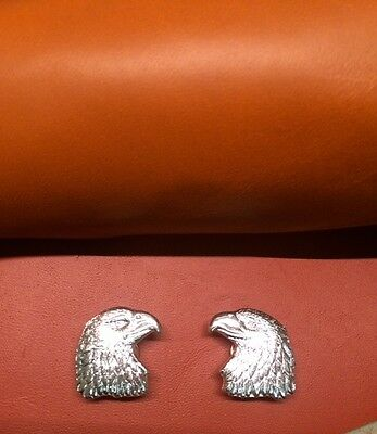 EAGLE HEAD CONCHO, silver plated concho, leather supply, Americana left - right