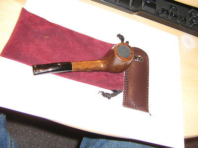 Nice New Brown Ebony 9 Mm Tobacco Smoking Pipe With Cleaning Tool & Nice Pouch