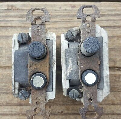 Vtg Push Button Light Switches Antique H&H Steampunk Industrial Repair Lot of 2