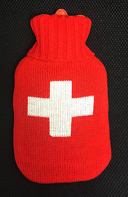 1L Rubber Hot Water Bottle and Soft Knitted Case Red White Cross