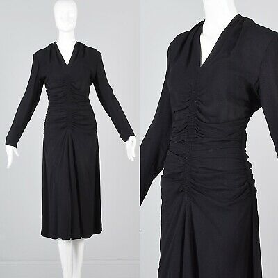 4f8b324a4e7 S Vintage 1940s 40s Mary Muffet Little Black Dress Cocktail Long Sleeve  Crepe