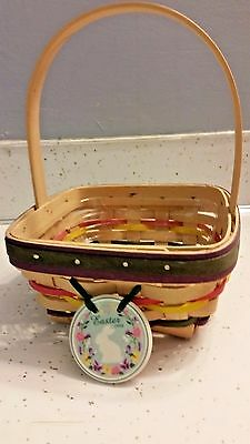 Longaberger 1998 Natural Small Easter Basket W/ Protector & Tie On