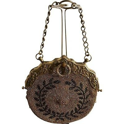 Antique Victorian 1895-1910 Steel Cut Bead Leather Chatelaine Purse