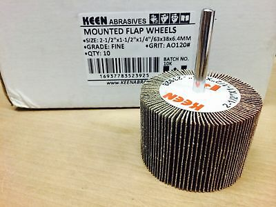 "10pcs Fine 120 grit KEEN 2-1/2"" x 1-1/2"" x 1/4"" Mounted Flap Wheels #23925"