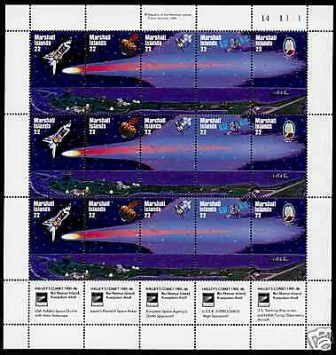 Marshall Islands 90a Top Right Plate MNH Space, Halley's Comet