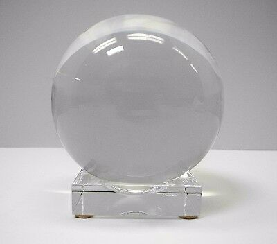 BACCARAT France Large Crystal Ball on Crystal Stand
