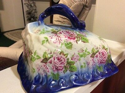 Beautiful  Antique Flow Blue Slanted Cheese Dish Cover W/ Pink Roses