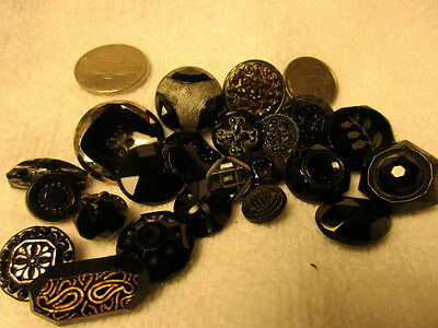 Atinque  Vintage Black Glass Button-Incised-Lusters-Mourning-Lacy-Flowers-326