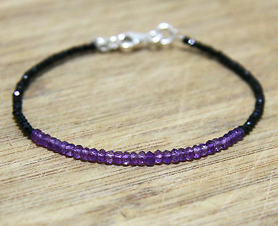 Diamond Look Natural Black Spinel & Amethyst Stacking Bracelet Sterling Silver