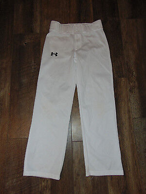 UNDER ARMOUR Boys LOOSE Fit WHITE BASEBALL PANTS Size YMD  Youth MEDIUM ~VGUC