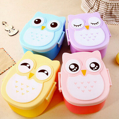 Cartoon Owl Lunch Box Food Container Storage Box Portable Kids School Bento Box