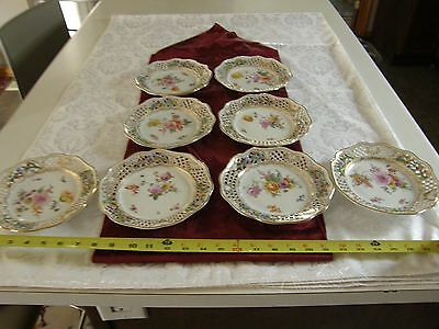 Carl Thieme Dresden Reticulated Plates, set of 8 Hand Painted Original