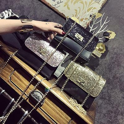 Women PU Bling Sequins Mini Messenger Chain Bag Shoulder Crossbody Bags Handbag