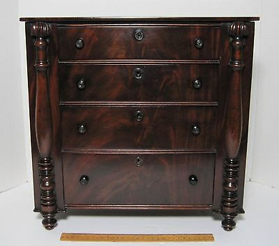 Antique Mahogany Miniature Chest Of Drawers Empire 19Th Century