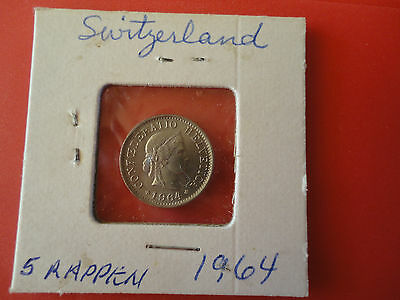 1964 SWISS  5 RAPPEN  COIN (V,G, Condition)