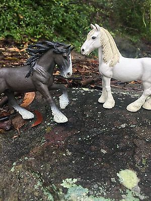 2 schleich horses: shire mare and stallion
