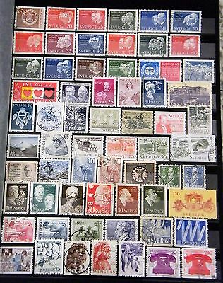 SWEDEN - Mixed Lot of 64 Stamps most Fine to Good Used LH
