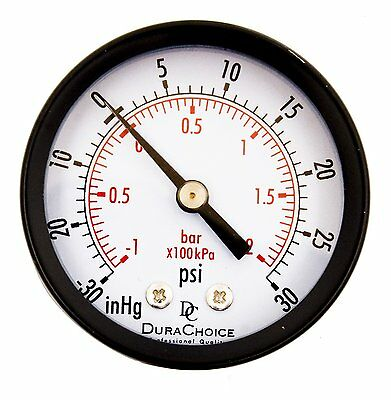 "2"" Utility Vacuum Pressure Gauge - Blk.Steel 1/4"" NPT Center Back, -30HG/30PSI"