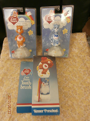 Vintage 1980's Care Bear Battery Operated New  Box Toothbrush & 2 Bubble Blowers