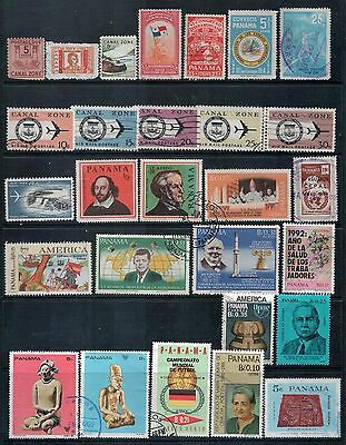Panama and Canal Zone -  Mixed Lot of 28 Stamps mainly Good Used and CTO
