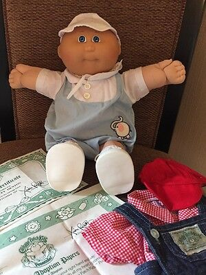 Vintage 1982 Cabbage Patch Kids boy Preemie Doll W/ Original Birth Certificate +