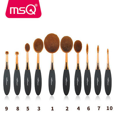 MSQ 10Pcs Oval Toothbrush Makeup Brushes Sets Kit Foundation Powder Brush Tools