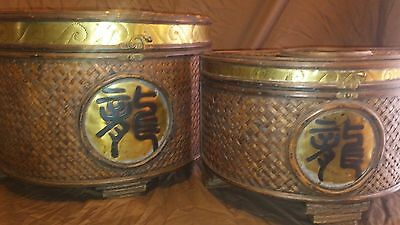 Chinese Wicker Wooden Chest Set Golden Accents
