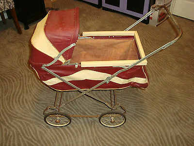 Vintage Used Burgundy White Portable Doll Baby Carriage Collapsible Stroller