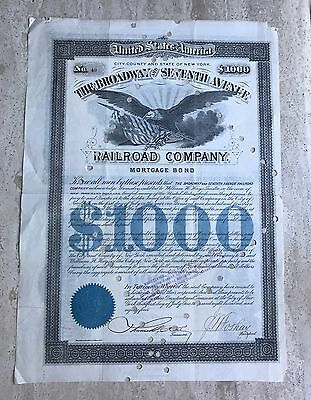 1884 New York: The Broadway and Seventh Avenue Railroad Company - Mortgage Bond