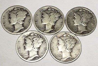 """MIXED LOT of OLD MERCURY DIMES: """"SILVER"""" $0.50 FACE (1923 to 1929)"""