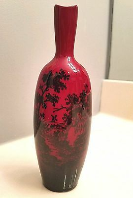 "ROYAL DOULTON Flambe Woodcut VASE Country River w/ Windmill RARE 7 1/2"" x 2 1/2"""
