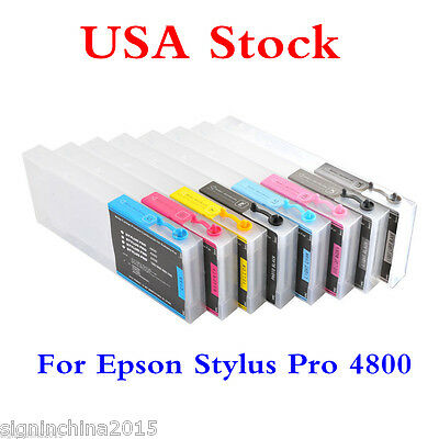 US Stock-Epson Stylus Pro 4800 Refill Ink Cartridges 8pcs / set, with 4 Funnels