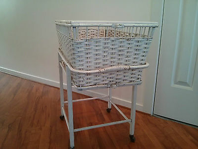 Vintage Dolls Bassinet - Cane basket - Wood Stand