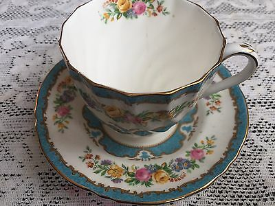 Crown Staffordshire Large Breakfast Cup Saucer Blue Tunis