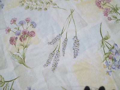 Vintage Tablecloth round pastel flowers on white and yellow