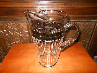 Vintage Art Deco Pinched Nose Cocktail Pitcher With Gold Trim