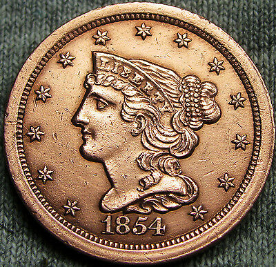 1854 Braided Hair Half Cent --- STUNNING DETAILS --- #N018