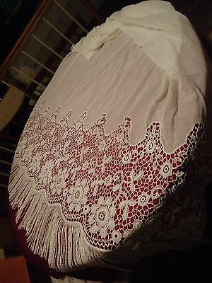 """Vtg White Sheer Curtain Panel Lacy w/ Long Fringe 52""""W x 77""""L Pull String Top"""
